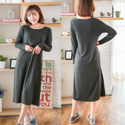 Mid-Calf Dress Nursing Breastfeeding Pregnancy Swing Loose Cute Comfy M/L/XL/2XL