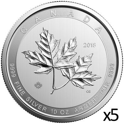 5 x 10 oz 2018 Silver Magnificent Maple Leaf Coin - .9999 - Royal Canadian Mint