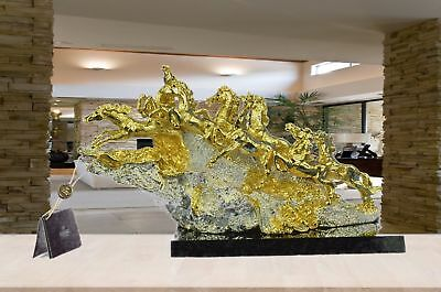 Figurine Bronze Sculpture Statue 24K Gold Eight Mustang Horses Abstract eb
