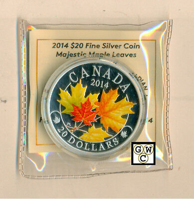 2014 Color 'Majestic Maple Leaves' Prf $20 Silver Coin 1oz .9999 Fine(14044)OOAK