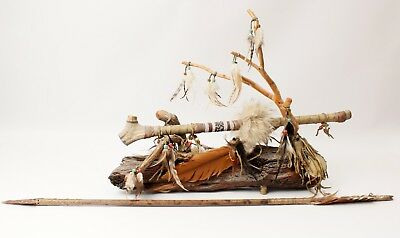 Deer Antler Peace Pipe 22 Inches Long Beads Deerskin Tobacco Pouch Stand Arrow