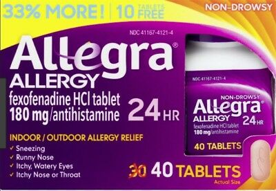 Allegra 24Hr Allergy Relief Tablets, 180mg, 30+10 Bonus 06/2019 or Better