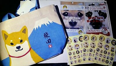 Shiba Inu Dog Bag *NEW* & Shiba Inu Stickers + (2) Will you Be A Dog Face Masks