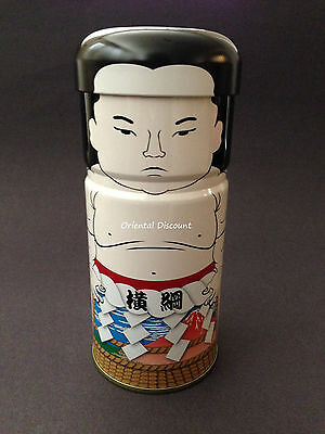 Japanese Tin Tea Canister Sumo Wrestler Yokozuna Champion Motif Made in Japan