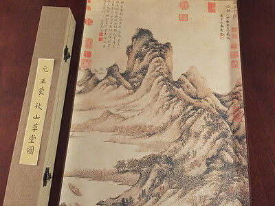 Chinese painting scroll Palace Museum Humble Cottage in Autumn Mountain Wang Men