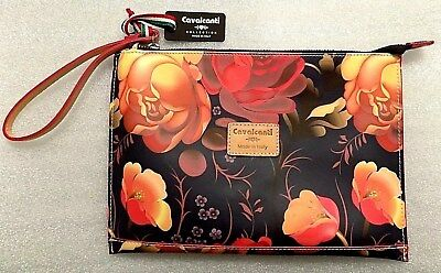 Cavalcanti Made In Italy Fl Leather Wristlet Wallet Cosmetic Bag Flower
