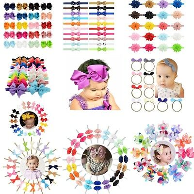 20PCS Baby Girls Toddler Grosgrain Hair Band Bow Headband Accessories Hairband