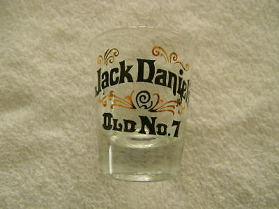 Jack Daniel's glass - Old No. 7 shot glass- black and gold colored design-HTF