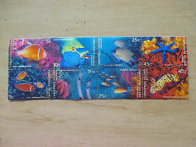 1--1998  -Christmas  Island -Marine Life Block  Of  8  Stamps  --Used  N0 Gum