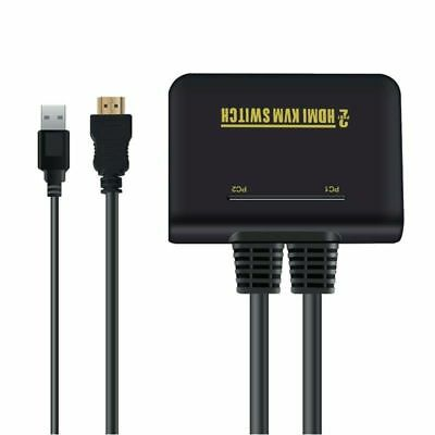 2 Port USB HDMI KVM Switch Switcher With Cable for Dual Monitor Keyboard E3G5 OZ