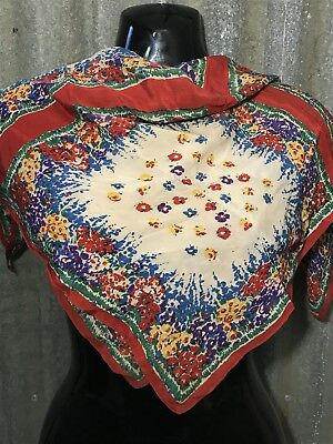 Pretty Vintage Floral Silk Head/Neck Scarf Red & Bright Multicoloured Flowers