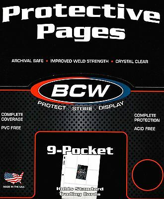 25 New BCW 9 Pocket Pages for Sports Trading Cards Baseball Storage