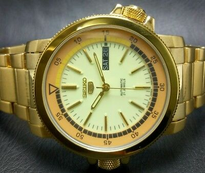 Seiko 5 Gold Plated Automatic Movement 7S36 Day Date Japan Made Mens Watch