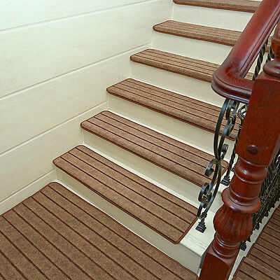 """Skid-resistant 9 x26"""" Stair Treads Runners Step Pads Carpet Mats Rugs Set of 5"""