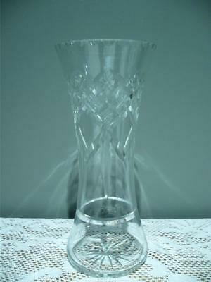 Lovely Cut Crystal Waisted Vase - 18.5Cm - Vintage - Good Condition