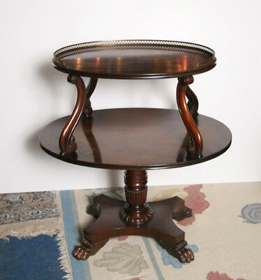 Bristol Co Two Tiered Circular Side Table with Brass Gallery