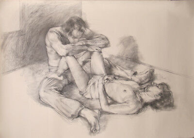 Hirsch, Contemplation, Charcoal Drawing