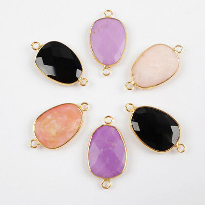 5Pcs Gold Plated Black Agate Pink Opal Sugilite Faceted Connector DIY HOT TG1502