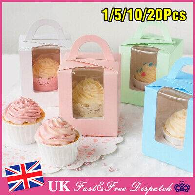 20X Wedding Candy box Single Cupcake Muffin Fairy Cake Boxes With Clear Windows