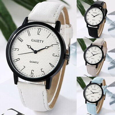 Women Casual Simple Stainless Steel Leather Band Strap Analog Quartz Wrist Watch