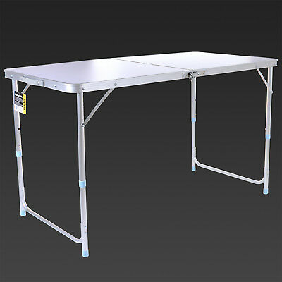 4FT Adjustable Aluminium Folding Portable Camping Table Party BBQ Parasol Hole