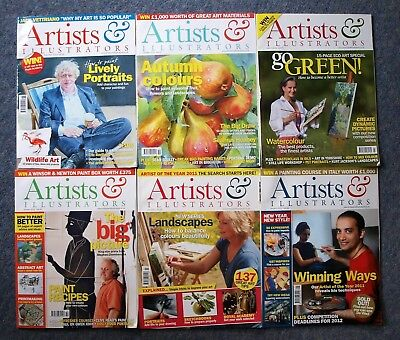 Six Artists & Illustrators Magazines In Good Condition