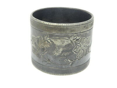 """Antique/Vintage Silver Napkin Ring w/Flowers and Monogrammed """"Bruce"""" Sterling?"""