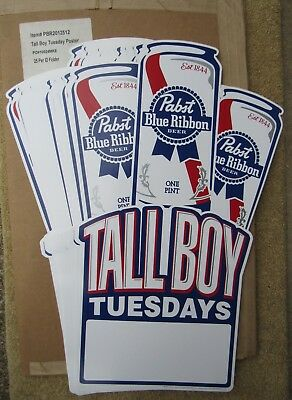 Box Of 25 NEW Pabst Tall Boy Tuesdays Paper Beer Signs / Posters PBR Blue Ribbon