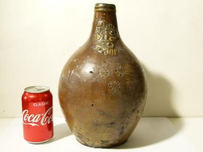 17-18thC Bellarmine Jug Beard Face Rhenish Flagon Stoneware Bottle #B10