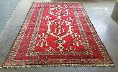 Baluch Rug 8'8x5'5ft Nomadic Afghan Baluch Rug Sheep Wool Large Area rug Vintage