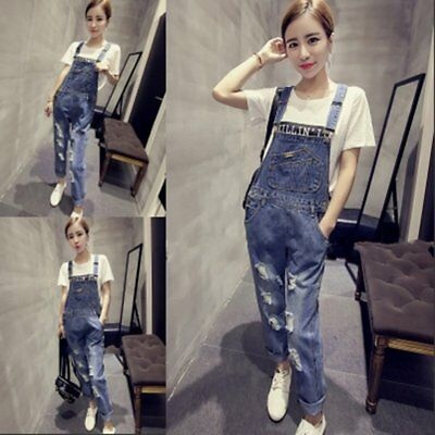 Denim Overalls Pants Jumpsuit Ripped-hole Personality Causal Women Trousers AU