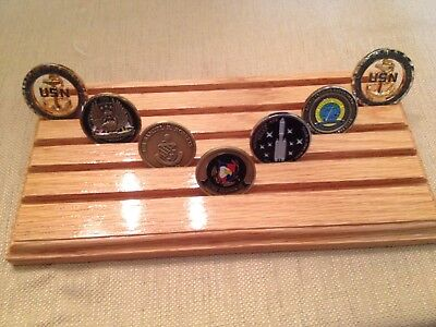 Military Challenge Coin Holder / Display 30 Coin Oak Desk Style