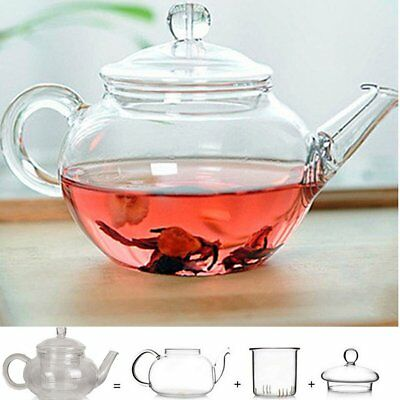 Heat Resistant Clear Glass Teapot Infuser Coffee Tea Leaf Herbal Pot 250BF GG