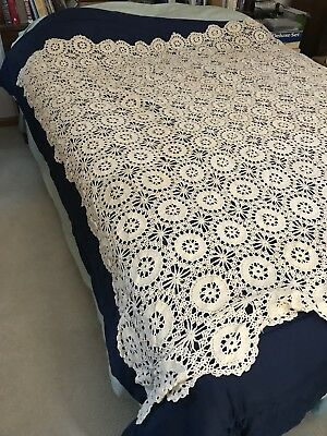 Crocheted Table Cloth Or Bed Topper Aprox. 60x72