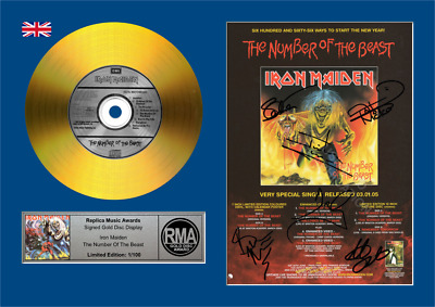 Iron Maiden The Number of the Beast - Signed Gold Disc Replica Music Award