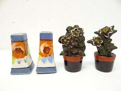 Mixed Lot of Two Ceramic White Made in Japan Brown Flowers Salt & Pepper Shakers