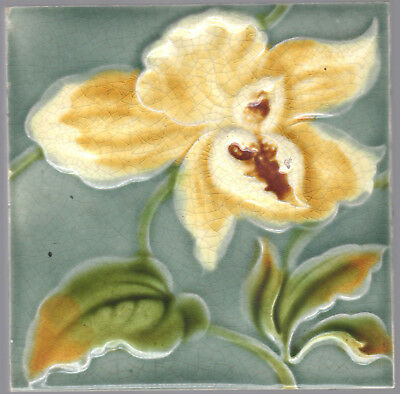 Henry Richards c.1901 - Bold Yellow Floral - Early Art Nouveau - Antique Tile