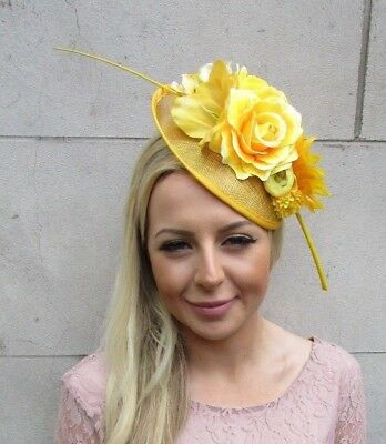 Yellow Feather Rose Flower Sinamay Disc Saucer Hat Fascinator Headband 5864
