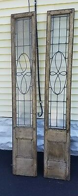 PAIR ANTIQUE VINTAGE OLD LEADED  GLASS WINDOW (original frame) 14x89 inches