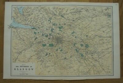 Antique 1884 Original Large Scale Map of The Environs of Glasgow - G.W. Bacon