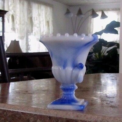 "Vintage AKRO AGATE Blue & White Slag Glass Beaded Top 3 1/4"" Urn Pedestal Vase"