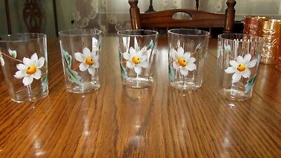 Lot 5 Antique Victorian Glass Hand Painted Daisy Flower Enameled Panel Tumblers