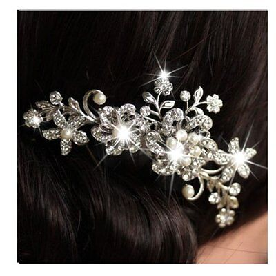 Wedding Bridal Crystal Rhinestone Flower Hair Clip Fantastic Hair Comb Headband