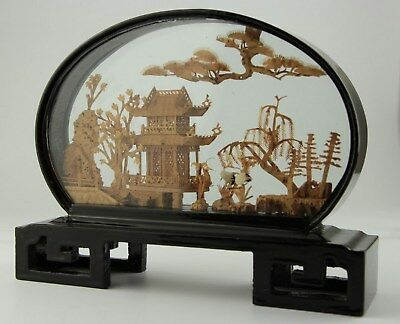 Vintage Asian Oriental Chinese Lacquer Diorama Cork Carving Art Birds Sculpture