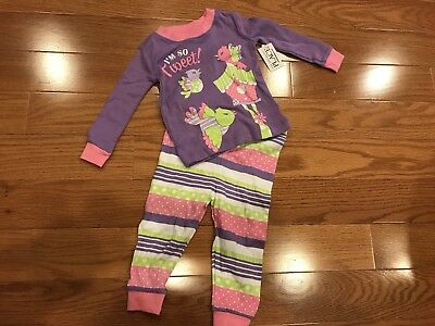 NWT THE CHILDRENS PLACE Baby Girls Purple Birds Sleepwear Pajama Set 9-12 Months