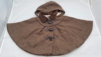 Girls Brown Hooded Cape, Faux Leather Detail & Toggle Buttons 12-18 Months