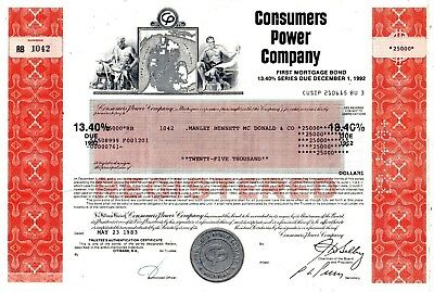 Consumers Power Company of Michigan 1982-1983 Mortgage Bond Certificate