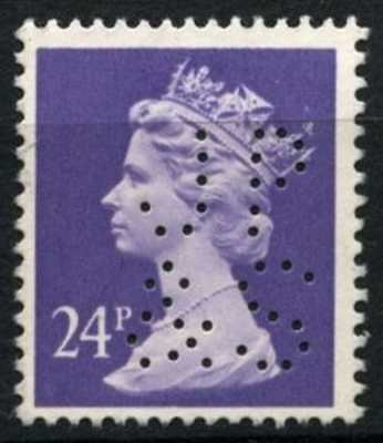 "GB QEII Definitive 24p With Perfin ""JP&S""#D73605"