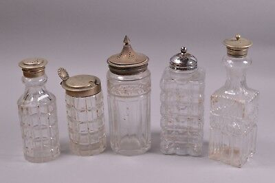Vintage Job Lot Sugar Shakers Sifter Glass Condiment Cruet Silver Plated