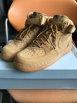Preowned Nike Men s Air Force 1 Mid 07 PRM QS Flax Wheat Size 9 715889- c9e050b22